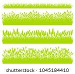 green grass borders set... | Shutterstock .eps vector #1045184410