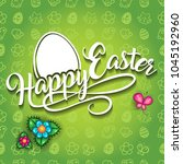 happy easter green decorative... | Shutterstock .eps vector #1045192960