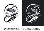 vintage gangster vehicle black... | Shutterstock .eps vector #1045200889