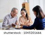 loving senior couple sitting at ... | Shutterstock . vector #1045201666