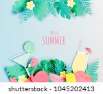 tropical floral with flamingo... | Shutterstock .eps vector #1045202413