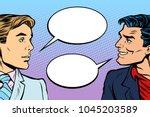 two men dialogue. pop art retro ... | Shutterstock .eps vector #1045203589