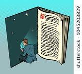 e book  a man reads online text.... | Shutterstock .eps vector #1045203829