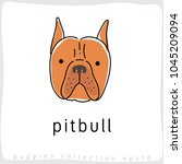 pitbull   dog breed collection  ... | Shutterstock .eps vector #1045209094