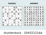 vector sudoku with answer 132.... | Shutterstock .eps vector #1045212166