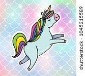 magic flying unicorn with... | Shutterstock .eps vector #1045215589