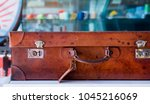 old leather suitcase  handle... | Shutterstock . vector #1045216069