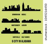 set of 6 city silhouette in...   Shutterstock .eps vector #1045216450