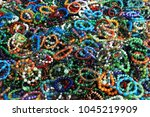 many different bracelets made... | Shutterstock . vector #1045219909