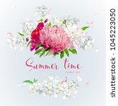 vintage floral vector wreath...   Shutterstock .eps vector #1045223050