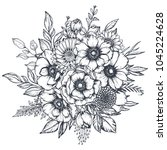 vector black and white floral... | Shutterstock .eps vector #1045224628