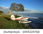Seaplane parked and ready to takeoff at Wooten Park in Tavares, Florida, USA
