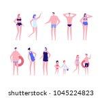 beach holiday   flat design... | Shutterstock .eps vector #1045224823