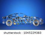 passenger car assembled from... | Shutterstock . vector #1045229383