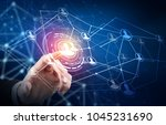 human hand point in the center... | Shutterstock . vector #1045231690