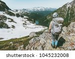 backpacker tourist climbing... | Shutterstock . vector #1045232008