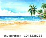 seascape. summer tropical beach ... | Shutterstock . vector #1045238233