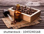 essential oil of cloves on a... | Shutterstock . vector #1045240168