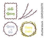 spring wreaths and frames set... | Shutterstock .eps vector #1045242070