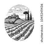 hand drawn vineyard landscape.... | Shutterstock .eps vector #1045245436