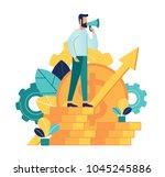 man standing on coins speaks... | Shutterstock .eps vector #1045245886