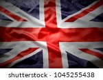 closeup of union jack flag  | Shutterstock . vector #1045255438