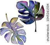 tropical leaves in a watercolor ... | Shutterstock . vector #1045261534