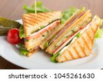 photo of a club sandwich made... | Shutterstock . vector #1045261630