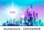 city skyline silhouette at... | Shutterstock .eps vector #1045264048