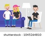 young arguing couple visiting a ...   Shutterstock .eps vector #1045264810