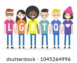 lgbtq sign. a group of people...   Shutterstock .eps vector #1045264996