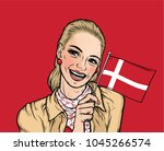 Smiling  Woman holding National Flag of Denmark on Red Background. Pop Art Illustration for the Nation Day and Other Public Holidays. Vector.