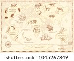 vintage world map with wild... | Shutterstock .eps vector #1045267849