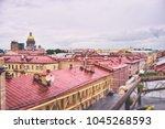 beautiful cityscape. rainy day... | Shutterstock . vector #1045268593