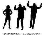 dancer women and men on white... | Shutterstock . vector #1045270444