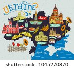 illustrated map of ukraine with ... | Shutterstock .eps vector #1045270870