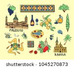 illustrated set of elements of...   Shutterstock .eps vector #1045270873