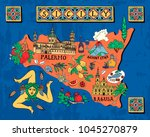 illustrated map of the italian... | Shutterstock .eps vector #1045270879