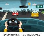 automobiles on street   highway ... | Shutterstock .eps vector #1045270969