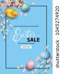 happy easter sale promo poster. ... | Shutterstock .eps vector #1045274920