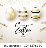 happy easter background with... | Shutterstock .eps vector #1045276390