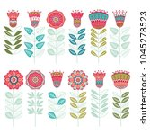 set ot cute floral vector... | Shutterstock .eps vector #1045278523