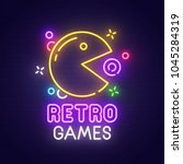 retro games neon sign  bright... | Shutterstock .eps vector #1045284319