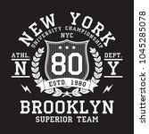 new york  brooklyn typography... | Shutterstock .eps vector #1045285078