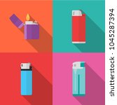 set of lighters icons with long ...   Shutterstock .eps vector #1045287394
