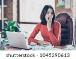 secretary studying fatigue nerd ... | Shutterstock . vector #1045290613