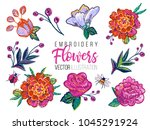 set of flowers embroidery... | Shutterstock .eps vector #1045291924