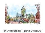 brighton city in england  uk.... | Shutterstock .eps vector #1045295803