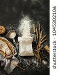 flour sprinkled from the white... | Shutterstock . vector #1045302106