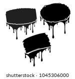set of 3 black decors with... | Shutterstock .eps vector #1045306000